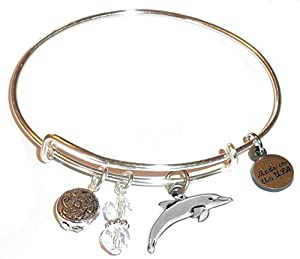 Charm (Butterfly, Flower, Paw print and More) Expandable Wire Bangle Bracelet, in the Alex and Ani style, COMES IN A GIFT BOX! (Dolphin)