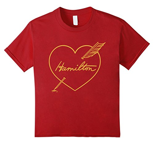 Kids Cranberry Apparel - unisex-child Hamilton Love Shirt | Quill Pen Through Heart 10 Cranberry