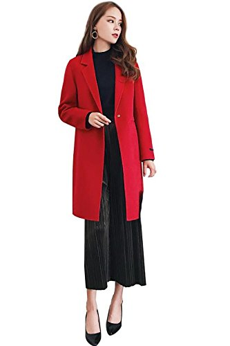 CG Winter Warm Wool Coats For Women Doubles-Sided Wool Elegant Design Suit For Any Occasion G0057 (XXL, Red)