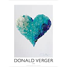 Love. Aqua Sea Glass Heart. Unique 18x24 Fine Art Photography Poster Print. Best Quality for College Dorm, Him & Her. Great Birthday, Christmas, Mother's Day & Valentines Gifts for Men, Women & Kids.