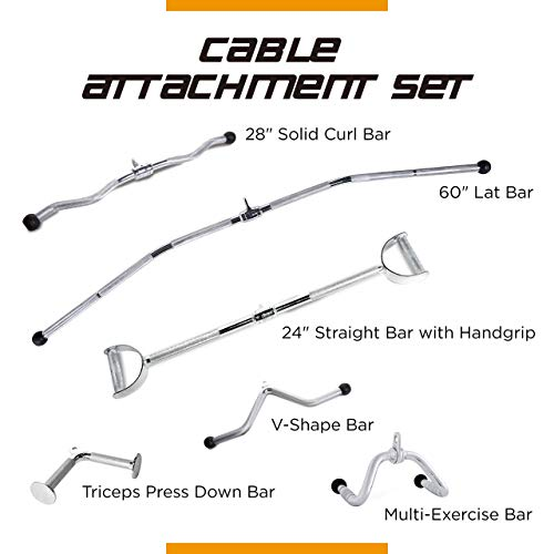 CAP Barbell 60'' LAT Bar & 24'' Pro-Style LAT Bar with Revolving Hanger & 28'' Curl Bar & V-Shaped Triceps Press Down Bar & Multi-Exerciser Attachment & Triceps Press Down - Curl And Finish Style