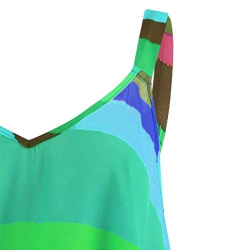 Gilet Tops Casual sans Lonuges Femmes Camisole Slim de Chemisier Haut Pull Manches Mode Harnais Grande Taille Shirt Blouse QinMM Dame Rainbow Vert Dbardeurs 5q4TfnywS
