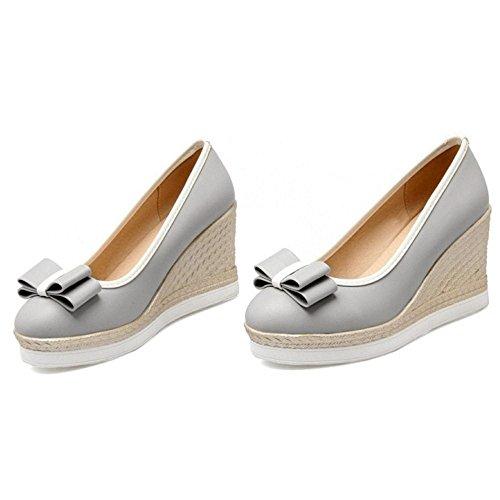 Gray Heels FANIMILA Women Bow Cute Pumps qtv1vxXw