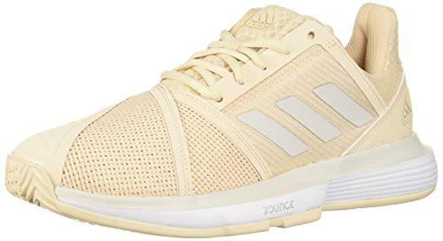 (adidas Women's CourtJam Bounce Tennis Shoe, Linen/Grey/White, 8.5 M)