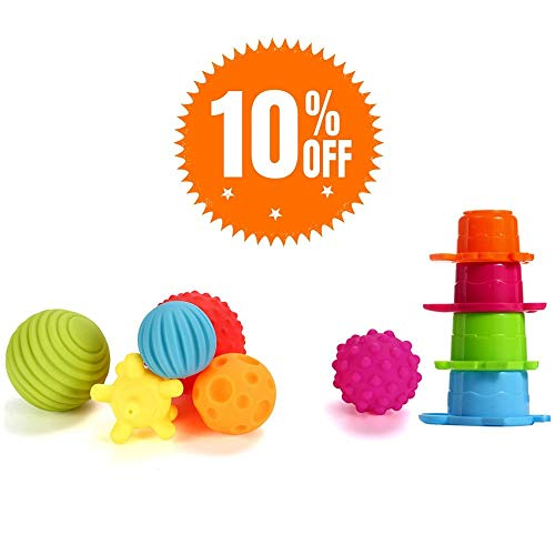 (Sensory Balls for Kids: Best Textured Multi Ball Set for Babies & Toddlers, 6 Colorful Soft and Squeezy Sensory Toys with Stacking Cups - Stress Relief Toy for Kids &)