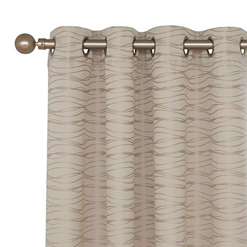 Deconovo Grommet Total Blackout Curtians with Triple-Pass White Coating Back Layer Stripe Jacquard Thermal Insulated Window Curtains for Kids Room Beige 2 Panels 52 X 95 Inch