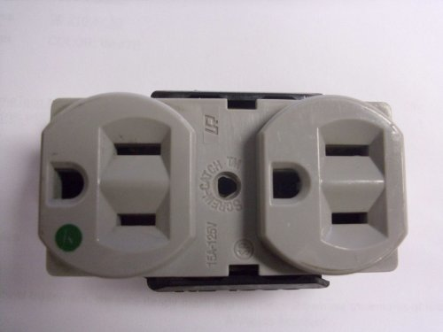 Gy Receptacle (Cooper Earless 15-15R Duplex Receptacle Hospital Grade - Gray 8200-GY)