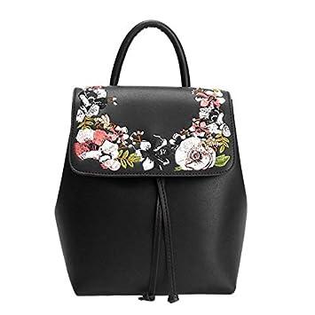 SHUANGJIAN@ Mochila De Mujer Moda Floral School Girls Bags Mujeres Mochila Small Black PU Leather