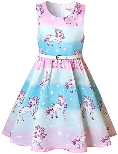 (Girls Rainbow Unicorn Dresses Sleeveless Party Swing Fit Flare Summer Dresses)