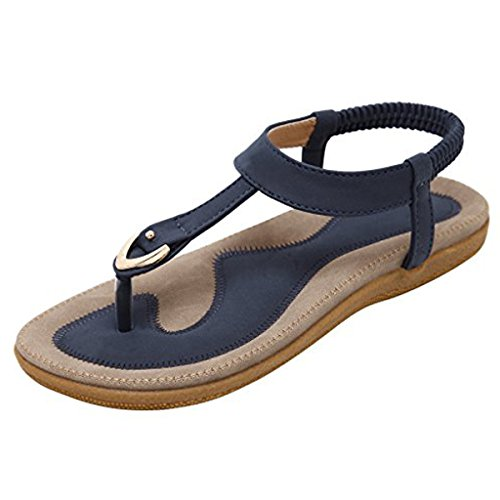 Stunner Women Summer Comfort T-Strap Flat Sandals Elastic Beach Bohemian Flip Flops Shoes Blue 38 For Sale