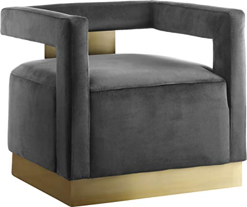 Living Room Meridian Furniture Armani Collection Modern | Contemporary Velvet Upholstered Accent Chair with Sturdy Steel Base and… modern accent chairs