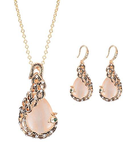 andy cool Vintage Women Elegant Peacock Waterdrop Rhinestone Pendant Necklace Earrings Crystal Jewelry Set Wedding Jewlery
