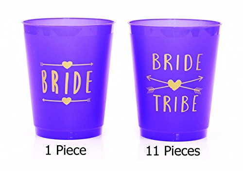 (12 Pack ) Purple Bride and Bride Tribe Cups - for Bachelorette, Bridal, & Hen Parties (Bubble Guppies Character Names)