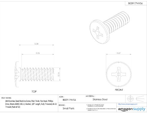 Pan Head Fully Threaded Plain Finish 1//2 Length Pack of 100 Slotted Drive 18-8 Stainless Steel Machine Screw Meets ASME B18.6.3 #5-40 UNC Threads