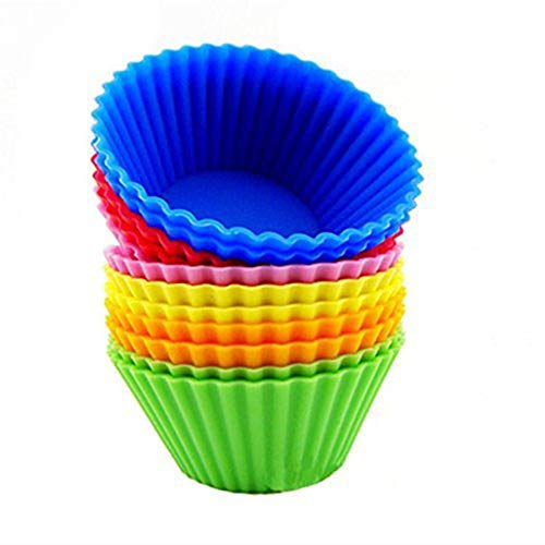 12pcs Silicone Baking Cups Cupcake Liners Vibrant Muffin Molds In Storage Container Mixed Color - Baking Pastry Tools