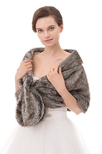 - Noriviiq Winter Women's Shrug Faux Fur Shawl Wrap Wedding Stole Cover Up For Bridal's Ball Gown Dress Light Grey
