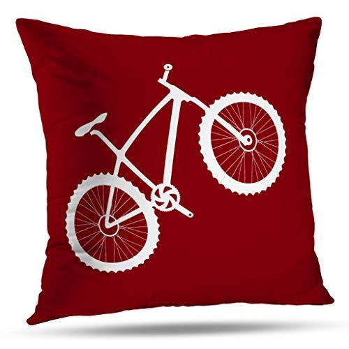 Pakaku Throw Pillows Covers for Couch/Bed 18 x 18 inch,Mountain Bike in Crimson Red White Home Sofa Cushion Cover Pillowcase Gift Decorative Hidden Zipper Summer Beach Sunlight (Bike Throw Pillow)
