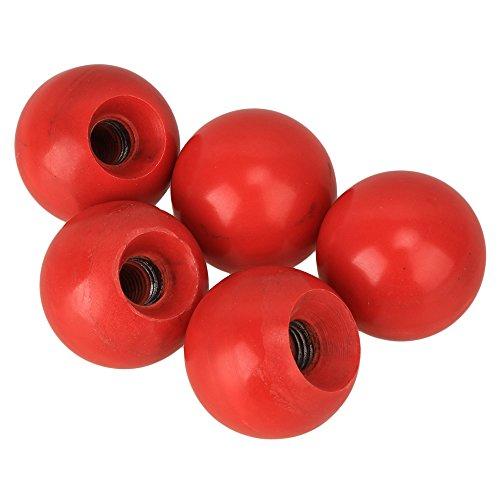 Yibuy 5 x Red Threaded Ball Knob 39mm Dia 12mm Bore for Joystick Machine Handle