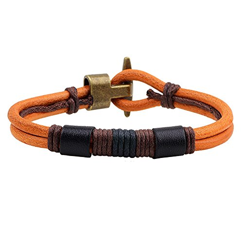 The November Nocturne Ancient Bronze Hand Braided Classic Yellow Leather Coffee Wax Rope Wrap Bracelet