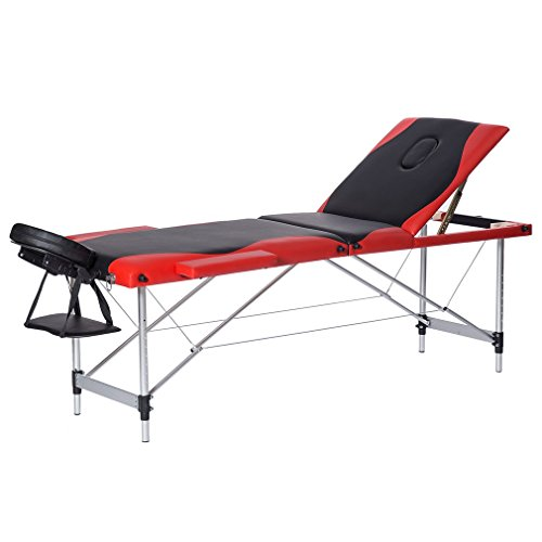 Homgrace Portable Massage Table 3 Fold Fold Aluminum Alloy Frame for Facial SPA Bed / SPA Therapy / Beauty Salon (Black+Red) by Homgrace