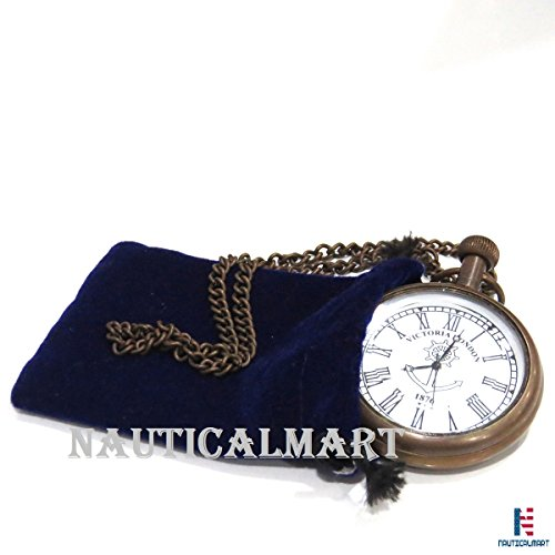 Glass Mechanical Pocket Watch - NAUTICALMART Roman Brass Pocket Watch Bronze Clock with Chain
