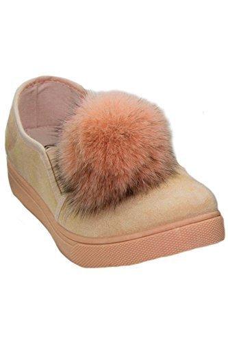 ZAFIRO BOUTIQUE MUJER PLANO Ante Artificial Peluche POM POM Mocasines SKATER Zapatillas - Camello, 5 UK: Amazon.es: Zapatos y complementos