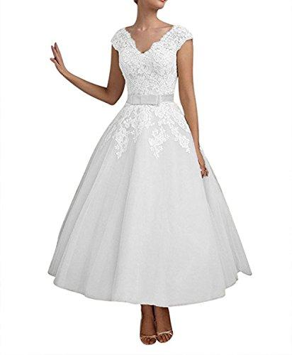 White Women's Sleeves Dresses Dobelove Cap Wedding Length Neck Double V Ankle gvwSSxaTq