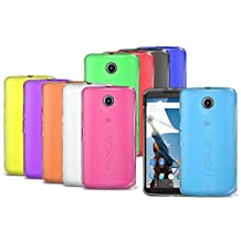 Orzly SoftSkin 10 PACK PURPLE RED LIGHT BLUE GREEN DARK BLUE GREEN YELLOW BLACK WHITE ORANGE PINK Silicone Protective Armour/Case/Skin/Cover/Shell for Motorola Google Nexus 6 (2014)