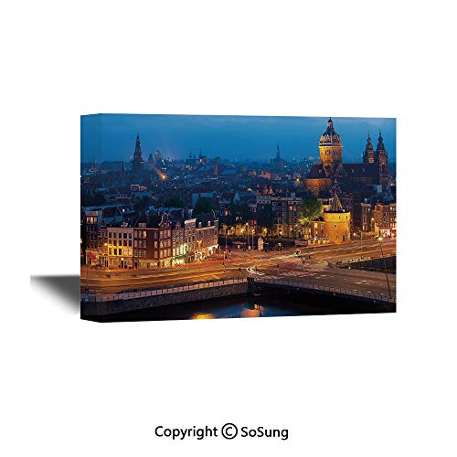 City Canvas Wall Art,Night View of Amsterdam Famous Landmark European Urban Travel Architecture,Giclee Print Gallery Wrap Modern Home Decor Ready to Hang,24x16 inch