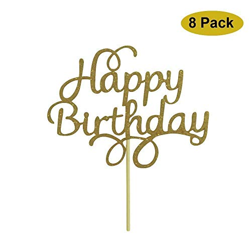 ROFEY Happy Birthday Cake Topper Decoration Gold Glitter 8 Pack