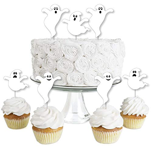 Spooky Ghost - Dessert Cupcake Toppers - Halloween Party Clear Treat Picks - Set of 24]()
