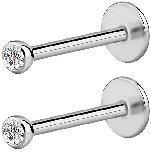 Forbidden Body Jewelry 2-Pack: 16G 10mm Surgical Steel Internally Threaded Micro CZ Gem Tragus/Helix/Labret Stud with 2mm Top