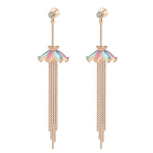 YOROMER Cubic Zirconia Drop Earrings Women Long Chain Dangle Earrings Fashion Hypoallergenic Stud Wedding Earring Gold ()