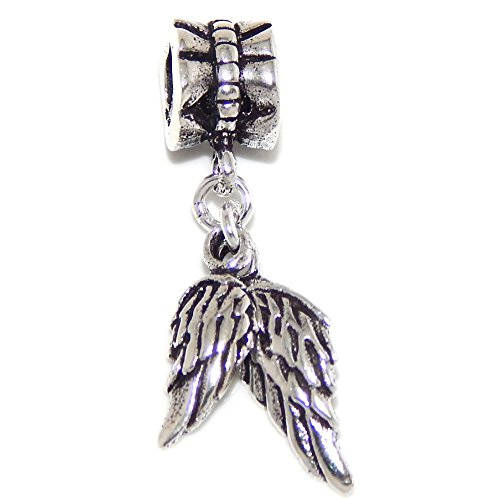 Sterling Charm Eagle Solid Silver (Pro Jewelry 925 Solid Sterling Silver Dangling Angel Wings Charm Bead)