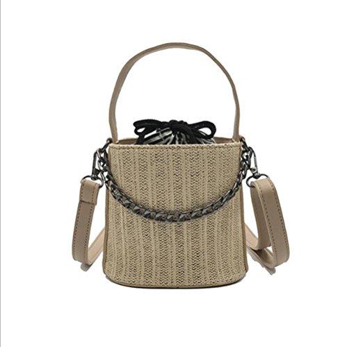 LXYIUN Bolso De Paja De La Señora De La Moda,Mini Bolsa De Cubo Paquete Diagonal De Paja Paquete De Playa De Verano,Pink Brown