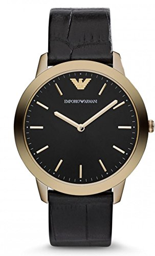 Emporio Armani Croc Embossed Leather Ladies Watch - Gold-Tone