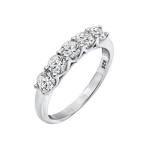 - Diamonbliss Platinum Clad 100-Facet 5-Stone Cubic Zirconia Band Ring- Size 10