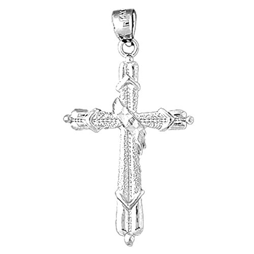 14K White Gold Methodist Cross Pendant Necklace - 40 - Cross Methodist Gold 14k White