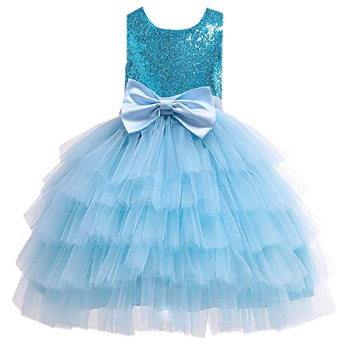 Girls Dress, Sleeveless Sequin Bowtie Tutu Tulle Party Ball Gown Prom Wedding Princess Dresses for Toddlers Little & Big Girls, 3# Blue, 3-4 Years = Tag 110