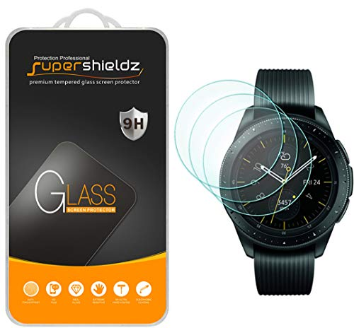 [3-Pack] Supershieldz for Samsung Galaxy Watch (42mm) Tempered Glass Screen Protector, Anti-Scratch, Bubble Free, Lifetime Replacement Warranty