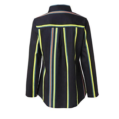 Longues Shirt Manches Longues T Femme Manches Chemise Trydoit Rayure Longues Longue Noir Manches q05xZwnBBO