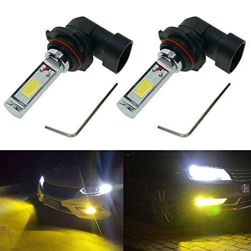 Calais Extremely Bright 9006 LED Fog Light Bulb Yellow 2000 Lumens High Power COB Chips 9006 HB4 LED Fog Lights Lamp Bulbs Replacement (Set of 2)