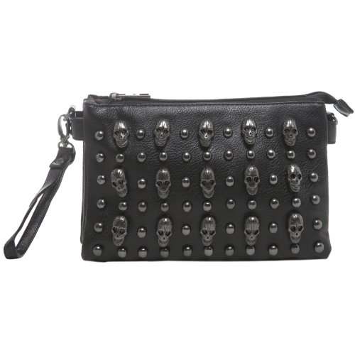 MG Collection Quina Skulls Mini Studded Shoulder Cross Body Handbag, Black, One Size