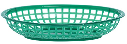 Large Oval Plastic Serving Baskets, Green, Case of 36 by Hubert