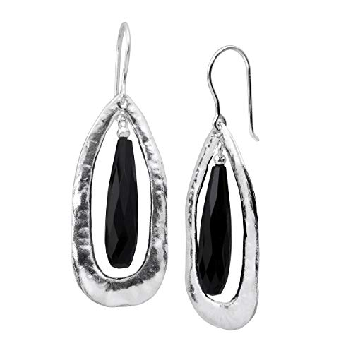 Silpada 'Rock Out' Natural Black Agate Cut-Out Drop Earrings in Sterling -