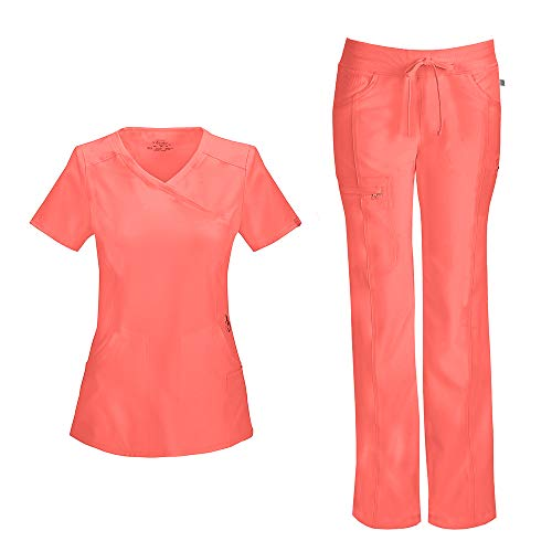 (Cherokee Infinity Women's Mock Wrap Scrub Top 2625A & Low Rise Drawstring Scrub Pants 1123A Scrubs Set (Certainty Antimicrobial) (Orange Sugar - X-Small/X-Small))