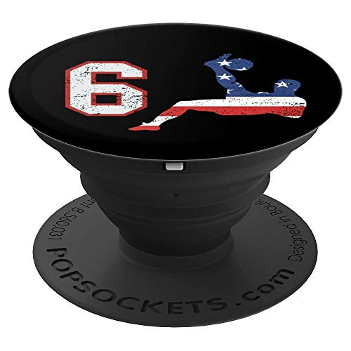 Soccer player number 6 with American USA flag bicycle kick - PopSockets Grip and Stand for Phones and Tablets