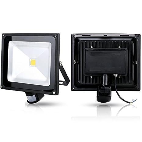 2x 50W Foco proyecto led sensor de movimiento,blanco cálido angulo de la luz 120
