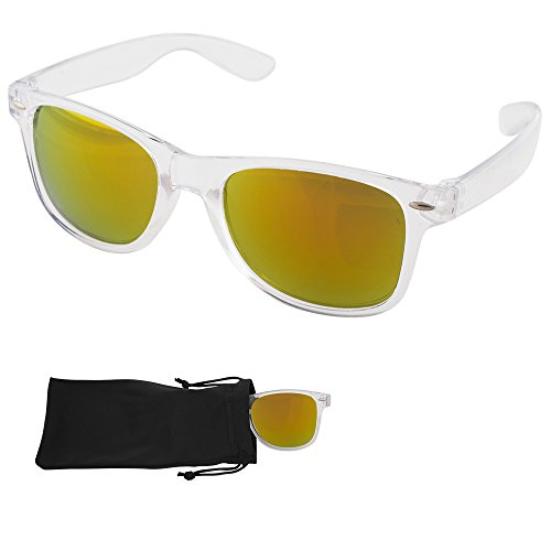 Wayfarer Sunglasses - Gold/Red Mirrored Lenses with Plastic Transparent Frames - UV Ray Protected Shades For Men & Women - By Optix - Wayfarer Transparent