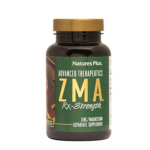 Natures Plus ZMA Rx Strength - 90 Vegetarian Capsules - Zinc Magnesium Aspartate Supplement with Vitamin B6, Muscle Builder & Recovery Aid - Gluten Free - 30 - Zma 90 Nutrition Capsules